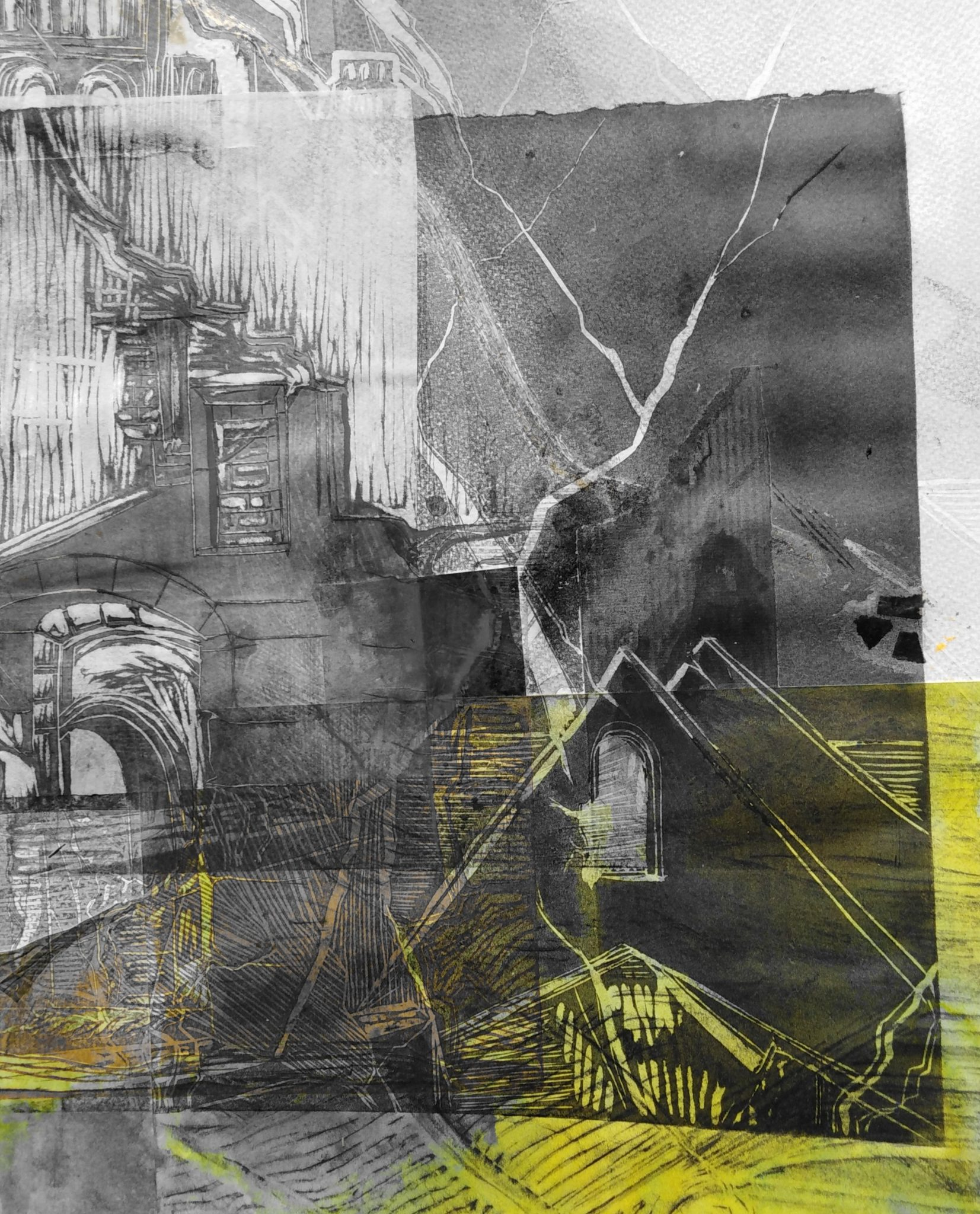 Portes du ciel 3 – Dessin et Lino – 50×70
