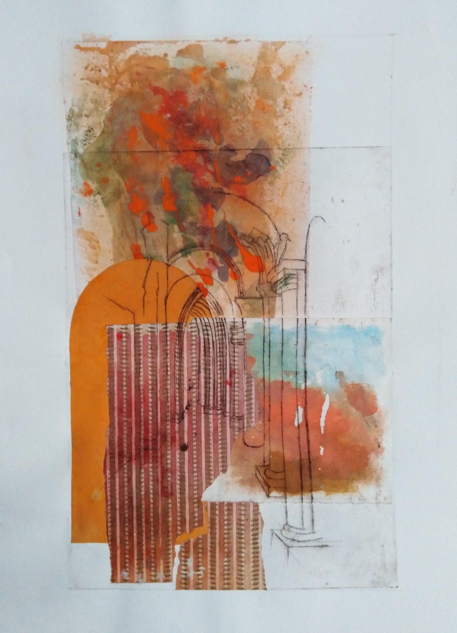 Portes du ciel 2- Burin et Monotype – 50×70