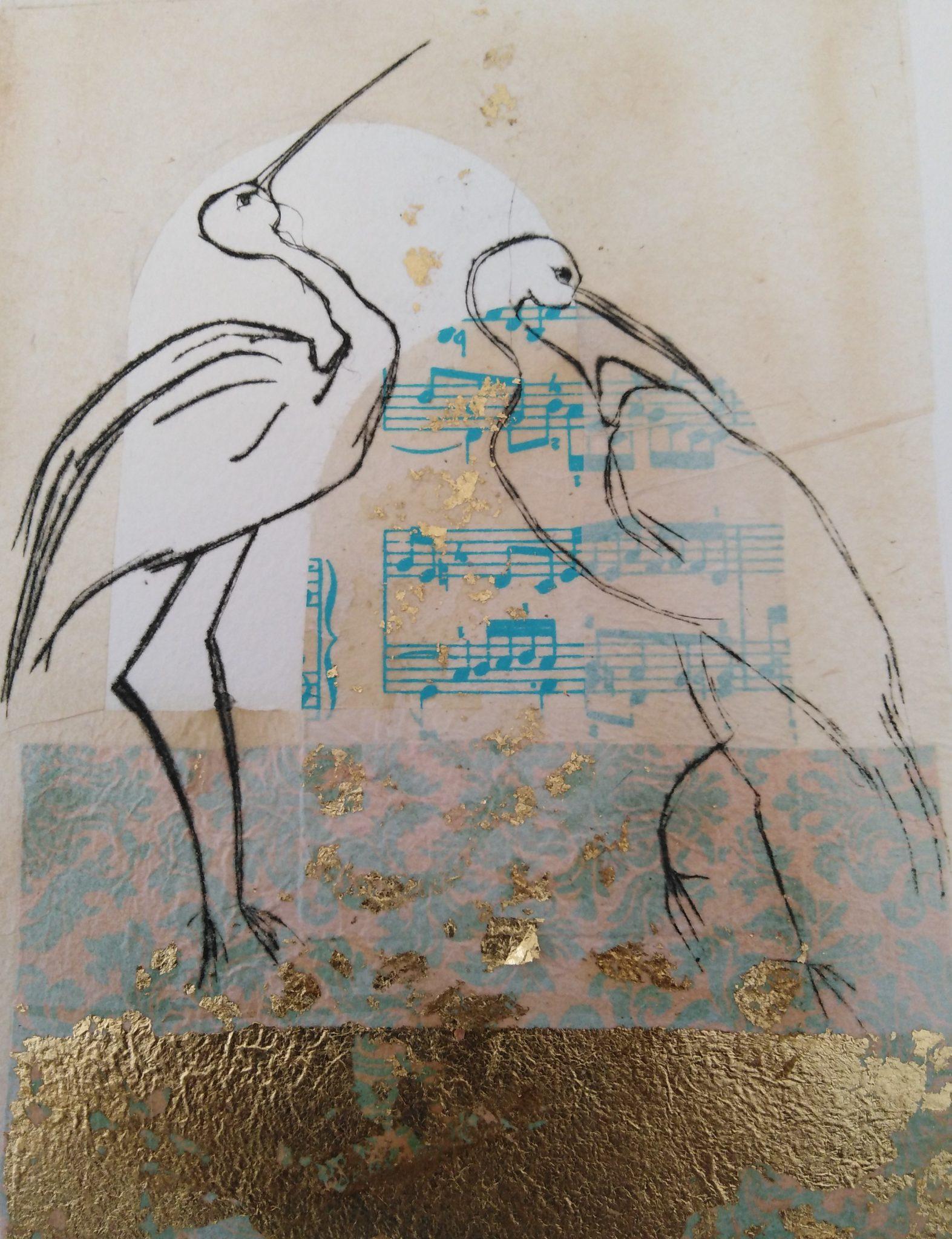 Les Ibis – Burin et Enluminure – 30×40
