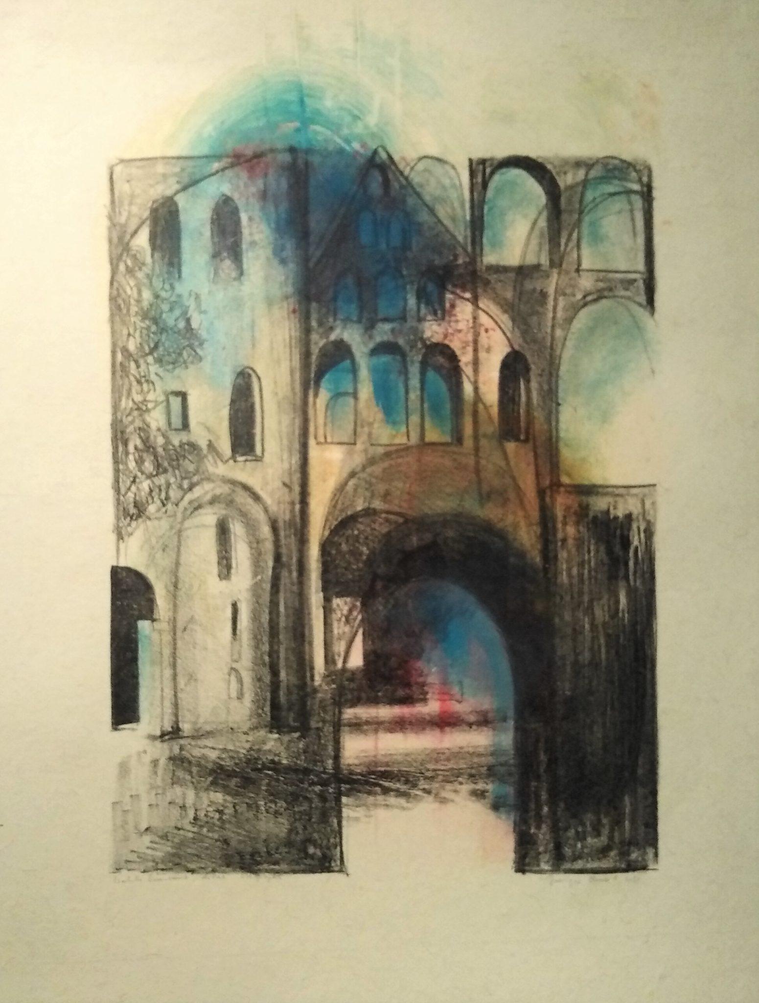 Jumièges Porche Notre Dame – Lithogravure – 80×100