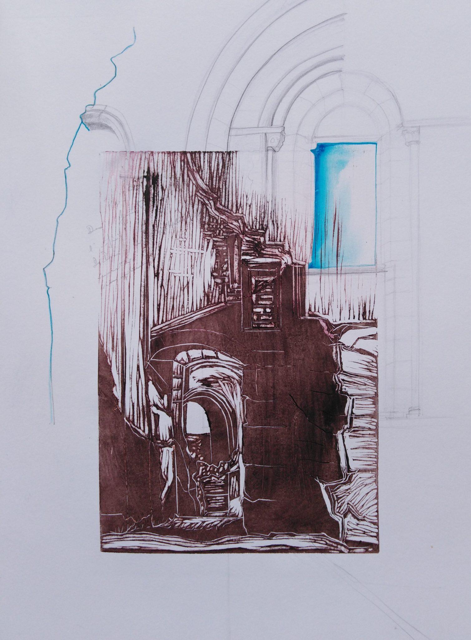 Portes du ciel 1 – Dessin et Lino – 50×70