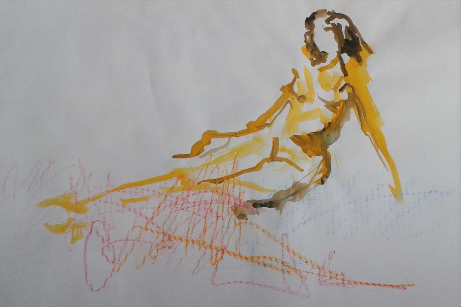 Silhouette 4- Aquarelle et crayon – 50×65