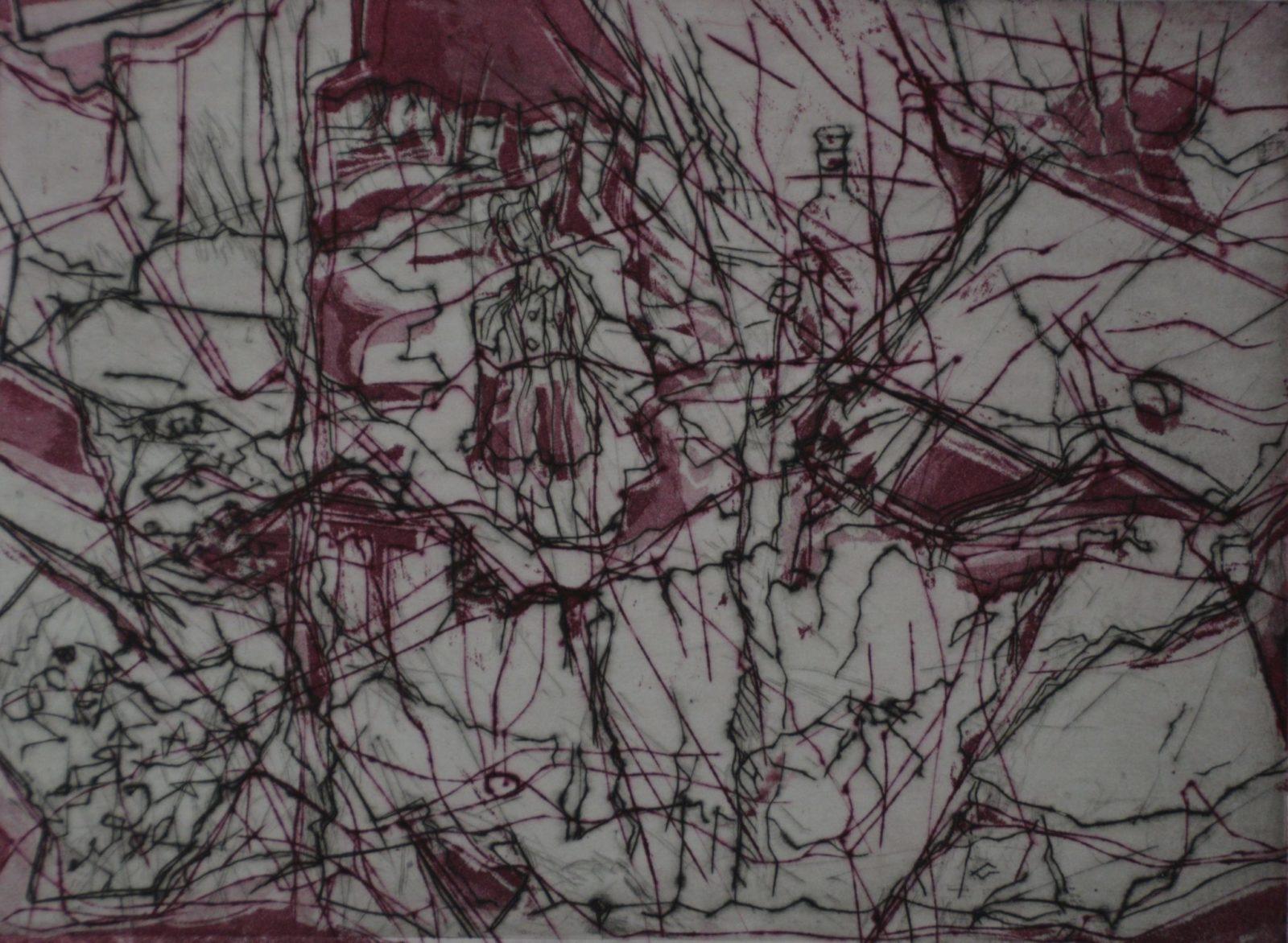 L'enfant peintre -Burin et pointe sèche – 30×40 – Eau forte et burin